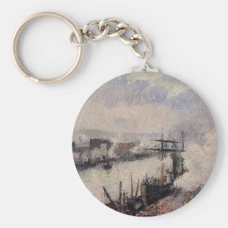Steamboats i porten av Rouen av Camille Pissarr Rund Nyckelring