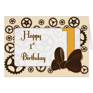 Steampunk första födelsedag för flicka hälsningskort
