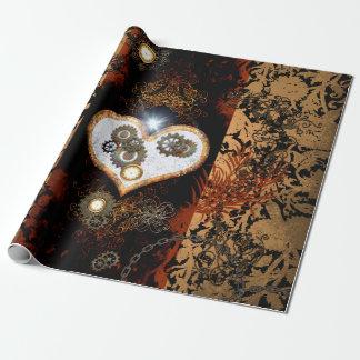 Steampunk härlig hjärta med utrustar och tar tid presentpapper