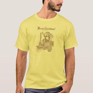 Steampunk jultomten på ångamotorn tee shirts