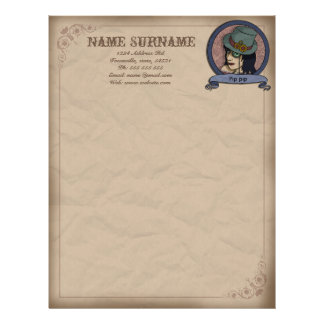 Steampunk Princess, customiseable brevhuvud