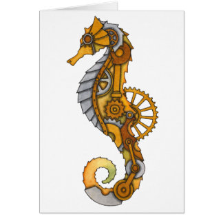 Steampunk Seahorse Hälsningskort