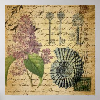 steampunk stämm den franska botaniska poster