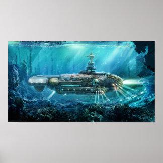 Steampunk ubåtaffisch poster