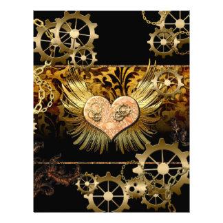 Steampunk underbar hjärta med utrustar i guld brevhuvud