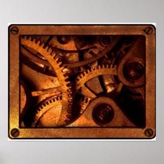 Steampunk utrustar urverkaffischen poster