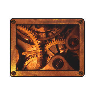 Steampunk utrustar urverktrycket canvastryck
