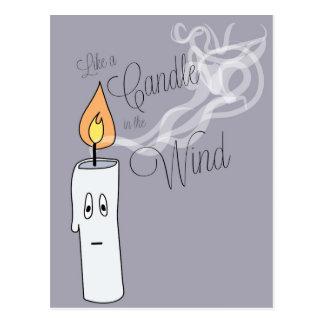 Stearinljus i vinden vykort