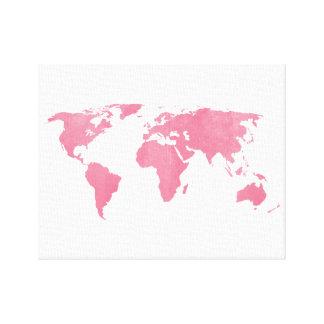 Steg den rodna världskartan canvastryck