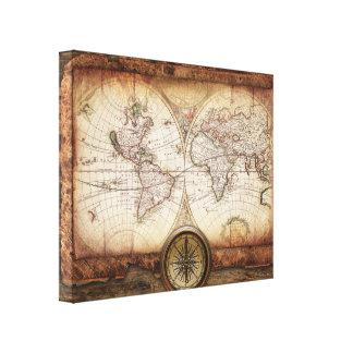 Steg kartan och kompasset för gammal värld för canvastryck