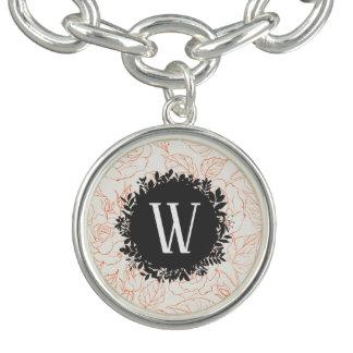 Steg skissar det Seamless mönster med monogramen Berlockarmband