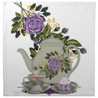 steg tea, tekannan, muffinen, tekoppservett i tygservett