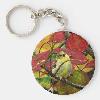 Steglits och höst löv rund nyckelring