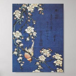 Steglits- och körsbärträd, c.1834 vid Katsushika H Poster
