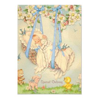Sten-en-bye baby blue födelsemeddelande 12,7 x 17,8 cm inbjudningskort