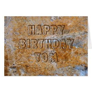 Stenåldergrattis på födelsedagen Tom Hälsningskort