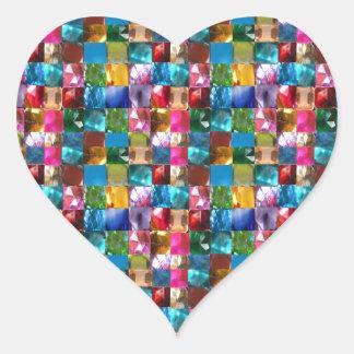 Stenar för NOVINO-juvelkristall som läker den Hjärtformat Klistermärke