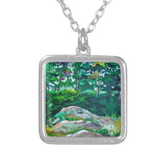 Stenar och träd silverpläterat halsband