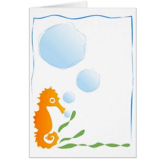 Stencilerad Seahorse Hälsningskort
