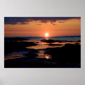 Stenig solnedgång poster