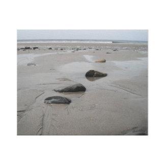 Stenig strand canvastryck