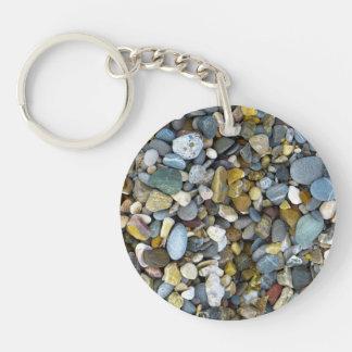 Steniga stenar rund enkelsidig nyckelring i akryl