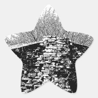 Stenkabin i svartvitt stjärnformat klistermärke