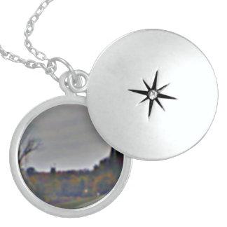 Sterling silverLocket med höst lövdesign Sterling Silver Halsband