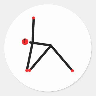 Stick figur av triangelyogapose.en runt klistermärke