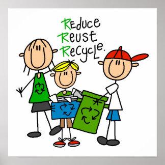 Stick figur förminskar återanvänder återvinnaT-trö Poster
