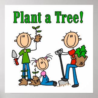Stick figur planterar Tshirts och gåvor för ett tr Poster