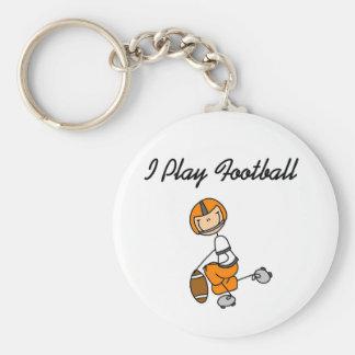Stick figurorangen leker jag fotboll rund nyckelring