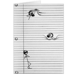 Stick figurteckning av spioner och spionen på hälsningskort