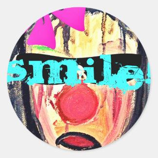 Sticker  cool smile runda klistermärken