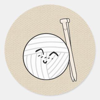 Stickor & hantverk för garntecknad♥ runt klistermärke