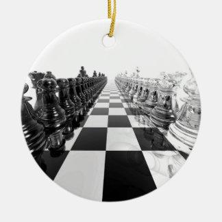stiger ombord det svartvita schacket 3D Julgransprydnad Keramik