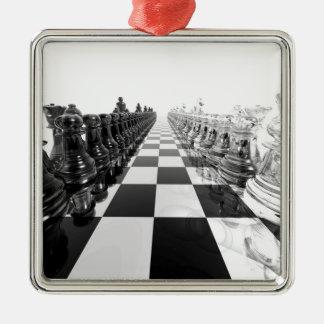 stiger ombord det svartvita schacket 3D Julgransprydnad Metall