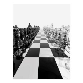 stiger ombord det svartvita schacket 3D Vykort
