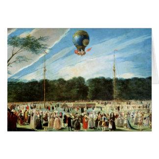 Stigningen av den Montgolfier ballongen på Hälsningskort