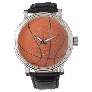 Stil för basketklockavintage med läder fäster armbandsur