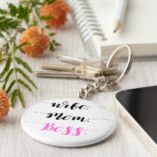 Stil för calligraphy för frumammachef rund nyckelring