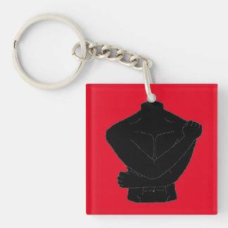 Stil för illustration för man男 enkel fyrkantigt dubbelsidigt nyckelring i akryl