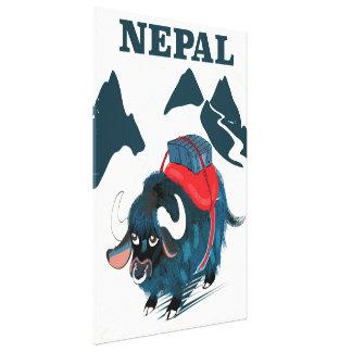 Stil för Nepal Yakvintage reser affischen Canvastryck