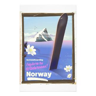 Stil för norgeSnowboardingvintage reser affischen Brevpapper