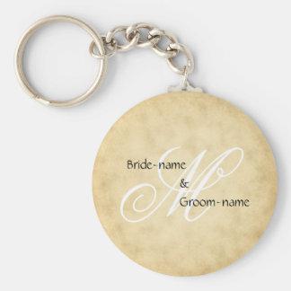 Stil för personligt bröllpMonogramvintage Rund Nyckelring