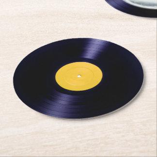 Stil för tider för vinyldisketten täcker retro underlägg papper rund