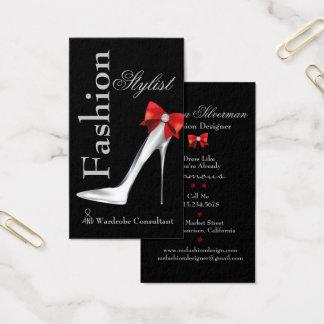 Stilett för modestylistsilver med den röda visitkort