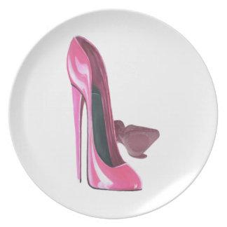 Stiletten skor konsttallrikar tallrik