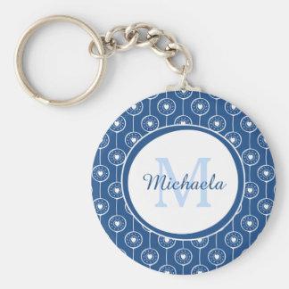 Stilfull blått- och vithjärtaMonogram med namn Rund Nyckelring