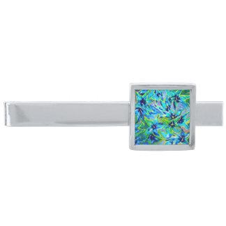 Stilfull blåttakvarellslipshållare silverpläterad slipsnål